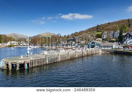 South Lakeland, Uk - April 2018: Waterhead Pier At Ambleside, A Lakeside Town Situated At The Head O