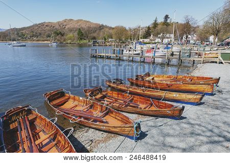 South Lakeland, Uk - April 2018: Rowing Boat At Waterhead Pier In Ambleside, A Lakeside Town Situate