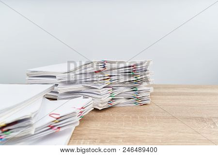 Overload Paperwork Report With White Background And Copy Space