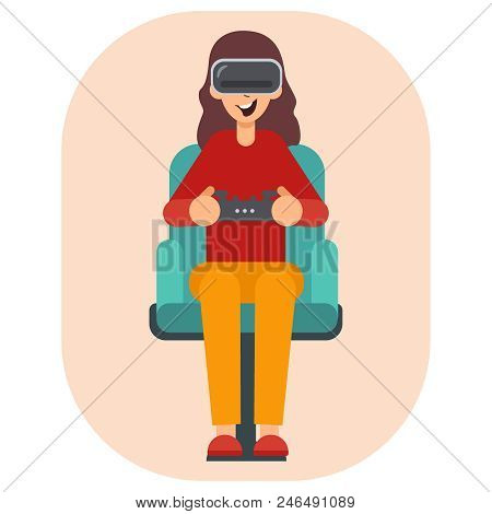 Virtual Reality Glasses Gamer Young Girl Playing Game Sit Armchair Cartoon Character Flat Design. Wo