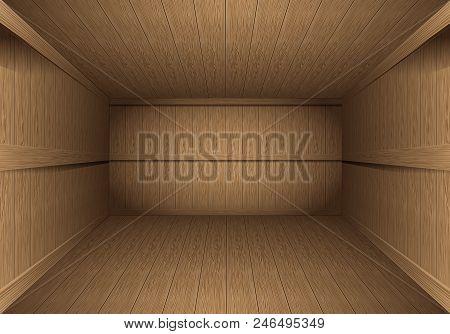 Realistic Brown Wood Room Vintage Background Vector Illustration.