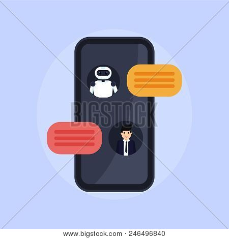 Chat Bot Vector Illustration. Person Talks With Robot. Conversation Between Bot And Human.