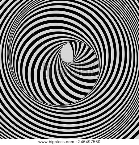 Tunnel. Abstract 3d Geometrical Background. Black And White Design. Pattern With Optical Illusion. V