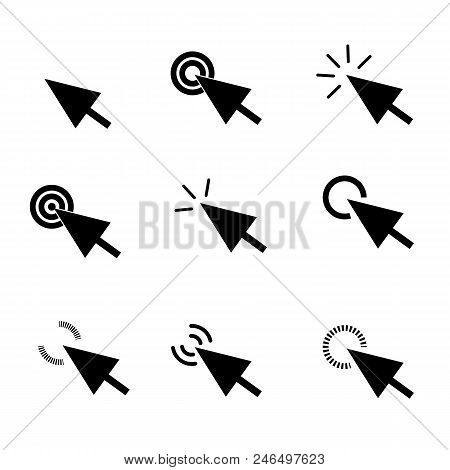 Click Icon In Trendy Flat Style On White Background. Arrow Click Symbol For Your Web Site Design, Lo