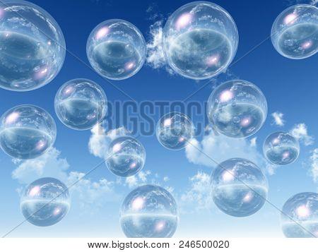 transparent balls on the sky background - 3D rendering