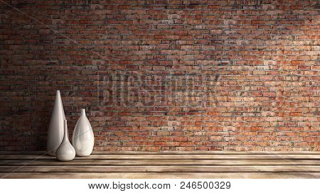3d Rendering Illustration Of Big Modern Room With Old Red Brick Wall And Set Of White Vases On Woode