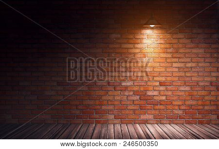 3d Rendering Illustration Of Empty Old Grungy Room With Red Brick Wall And Wooden Floor. Yellow Dire
