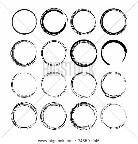 Set Of Black Oval Grunge Frames. Empty  Borders. Vector Illustration.