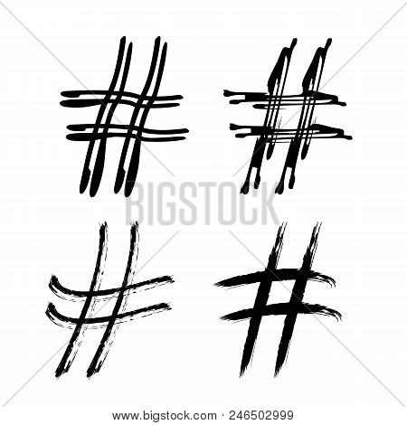 Set Of Hashtag Signs Banner. Number Symbol. Handwritten Elements For Graphic Design - Blog, Social M