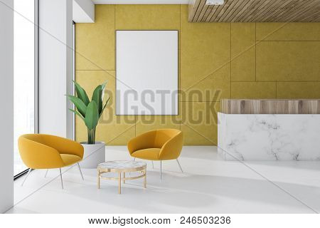 Yellow Wall Office Waiting Room Interior With A Marble Floor, A Reception, A Coffee Table With Yello