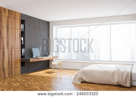 Panoramic Window White, Gray And Wooden Bedroom Interior With A Wooden Floor, A Double Bed And A Hom