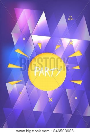 Party Banner With Sun Shape. Vertical Flyer For Holiday Design With Shine And Geometric Decorative E