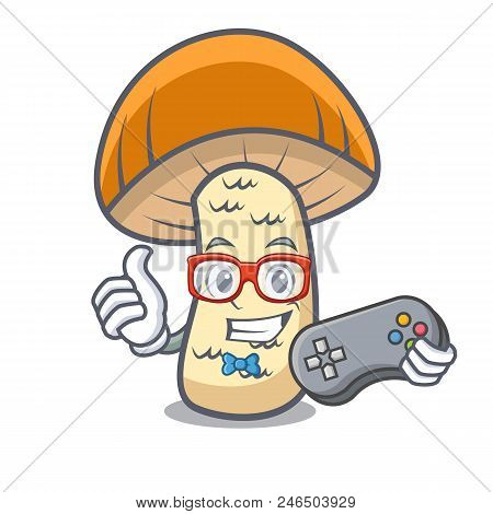 Gamer Orange Cap Boletus Mushroom Mascot Cartoon Vector Illustration