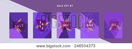 Set Of Sale Banners With Geometric Abstract Composition. Promotion Cards. Posters For Advertising De