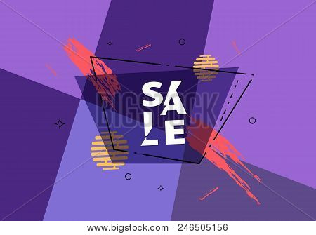 Sale Banner With Sliced Lettering. Promotion Card. Vector Illustration.