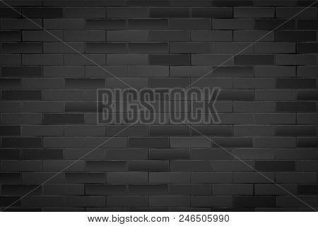 Texture Of Black Brick Wall. Closeup View. Dark Vintage Rural Room And Fashion Interior. Grunge Indu