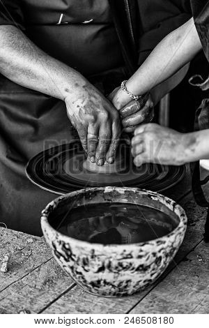 Hands Of A Potter Shaping Clay, Detail Of Craftsman, Art And Creation In Spain