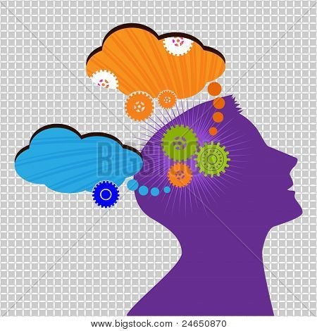 man thinking, planning, creating concept with gears turning