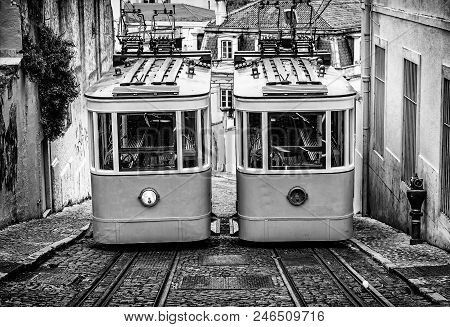Old Trams In Lisbon, Detail Of An Old City Transport, Ancient Art, Tourism In The City