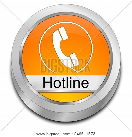 Orange Hotline Button On White Background - 3d Illustration