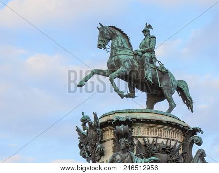 equestrian statue of Emperor Nicholas. Saint-Petersburg , Russia