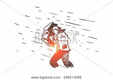 Obstacles, Difficulties, Problems Concept. Hand Drawn Man With Umbrella And Rain As Symbol Of Diffic