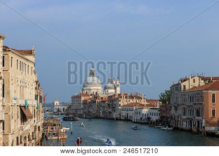Travel Photo Of The Grand Canal From The Iconic Rialto Bridge, One Of The Major Landmark In Venice,