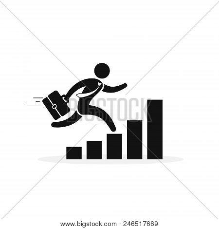 Businessman Running Along The Growth Graph. Businessman Moving To Success And Business Growth. Busin