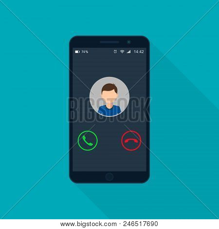 Incoming Phone Call Screen User Interface, Vector Isolated Illustration.