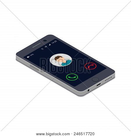 Incoming Phone Call Screen User Interface, Vector Isolated Isometric 3d Illustration.