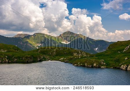 Picturesque Place Around Capra Glacier. Beautiful Mountainous Summer Landscape On High Altitude. Lov