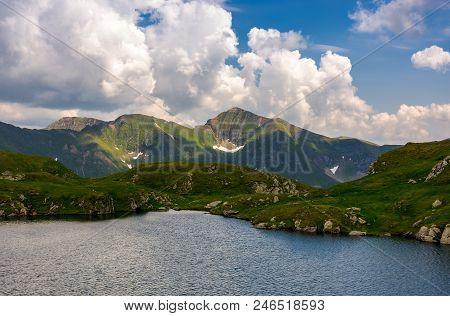 Picturesque Place Around Capra Glacier. Beautiful Mountainous Summer Landscape On High Altitude. Lov