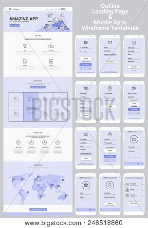 Responsive Landing Page Or One Page Website And Mobile Apps Template Mockups Wireframe Workflow Coll