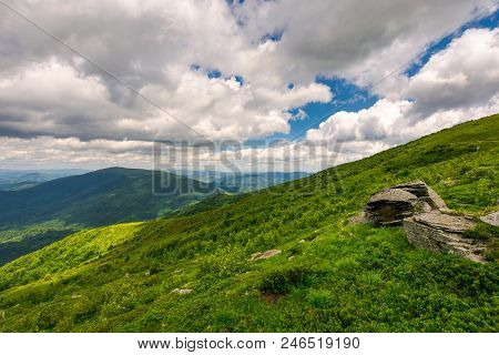 Boulders On The Hills Of Runa Mountain On A Cloudy Day. Beautiful Carpathian Landscape In Summer Tim