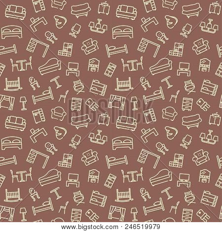 Line Furniture Seamless Background. Outline Web Pattern