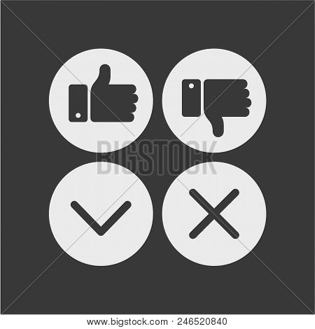 Like And Dislike Flat Vector Icons. Agreed And Not Agreed Flat Vector Icons