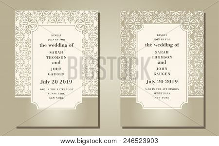 Vintage Ornate Cards In Oriental Style. Line Art Eastern Floral Decor. Template Frame For Birthday A