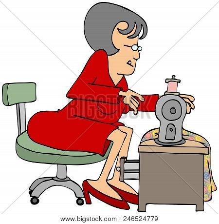 Illustration Of A Woman Seamstress Sitting At Her Sewing Machine.