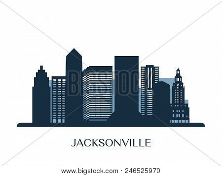 Jacksonville Skyline, Monochrome Silhouette. Design Vector Illustration.