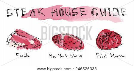 Watercolor Steak Types Set. Beef Cuts. Top Meat Guide For Butcher Shop Or Steak House Restaurant Men
