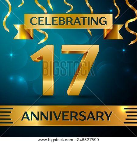 Realistic Seventeen Years Anniversary Celebration Design. Golden Confetti And Gold Ribbon On Blue Ba