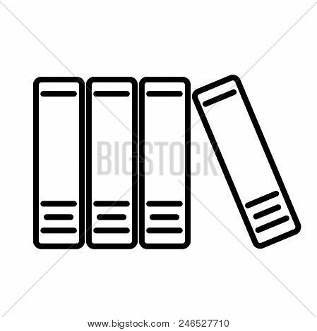 Office Folders With Papers And Documents Line Icon Isolated On White Background. Archives Folder Sig
