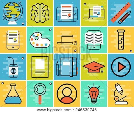Online Learning Flat Design Distant Education Video Tutorials Staff Training Store Learning Research