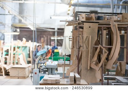 Furniture Factory. Shop For The Production Of Furniture From Wood.woodworking Plant. Workshop On Pro