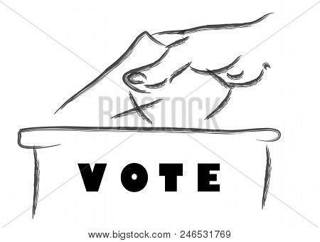 Voting Concept, Vote Ballot With Box. Vector Illustration.