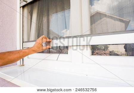 Hand Holds Anti-insect Mosquito Net On Pvc Windows