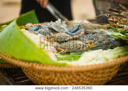 Fresh Blue Crabs In The Basket On The Seafood Market In Vietnam