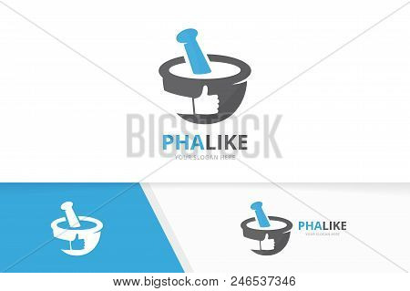 Vector Pharmacy And Like Logo Combination. Pounder And Best Symbol Or Icon. Unique Mortar And Pestle