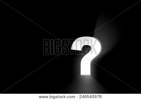 question mark on dark wall