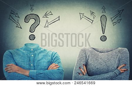 Incognito man and woman with crossed hands and drawn interrogation and exclamation marks instead of head. Introvert and extrovert couple problem and solution concept. Hidden faces like no identity. poster
